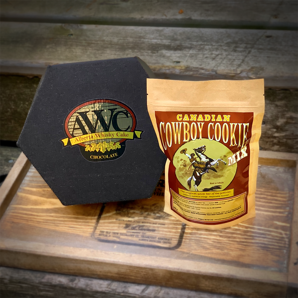 Alberta Whisky Cake box and bag of Canadian Cowboy Cookie mix